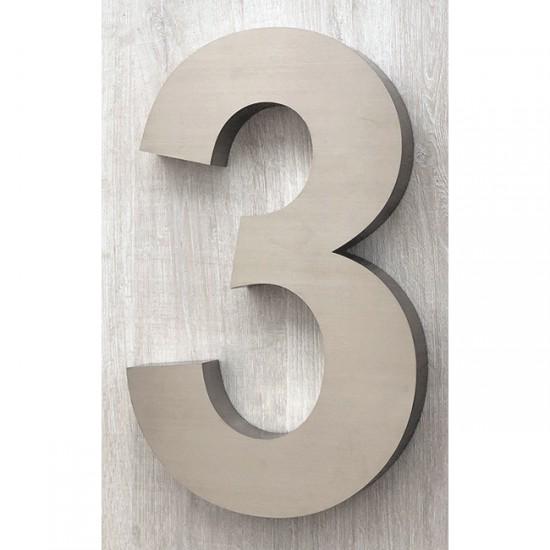 Huisnummer 3 RVS 3D Arial xxl