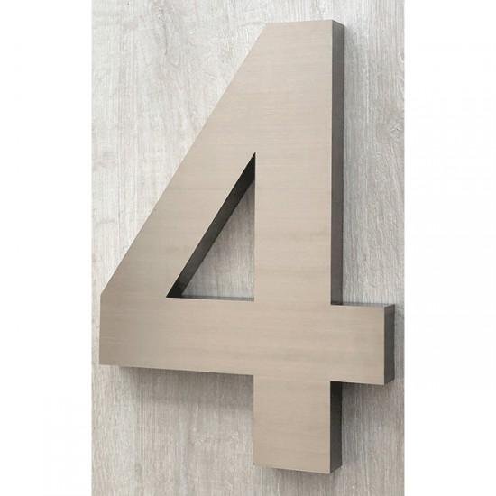 Huisnummer 4 RVS 3D Arial xxl