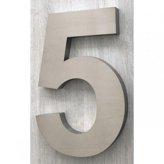 Huisnummer 5 RVS 3D Arial xxl