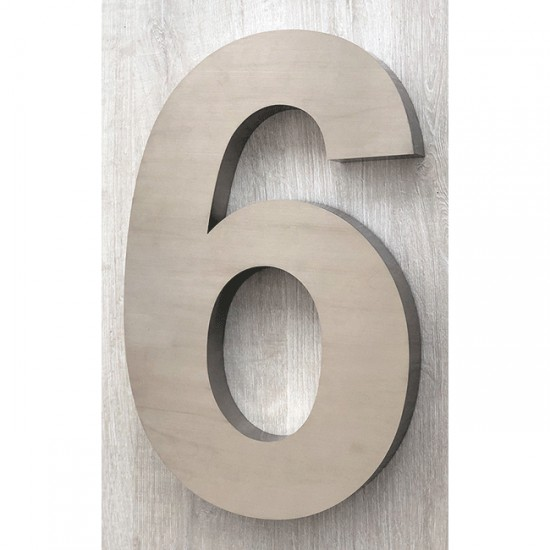 Huisnummer 6 RVS 3D Arial xxl