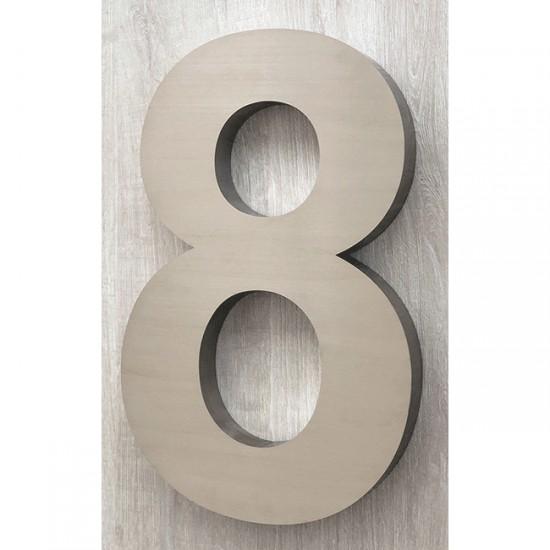 Huisnummer 8 RVS 3D Arial xxl