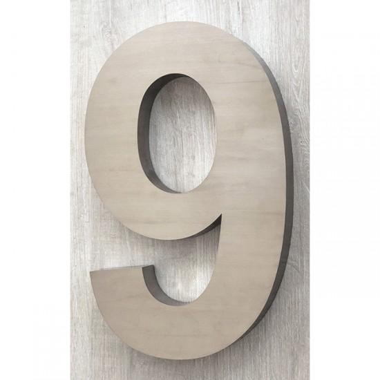 Huisnummer 9 RVS 3D Arial xxl