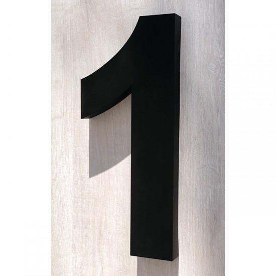Huisnummer 1 RVS mat zwart...