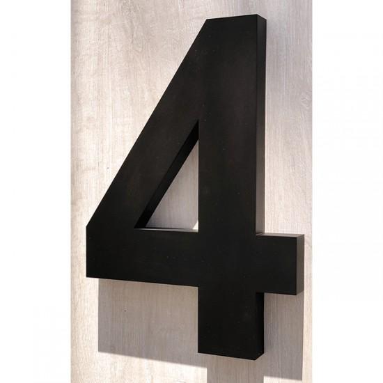 Huisnummer 4 RVS mat zwart...
