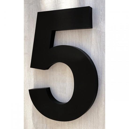 Huisnummer 5 RVS mat zwart...