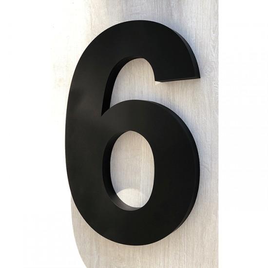 Huisnummer 6 RVS mat zwart...