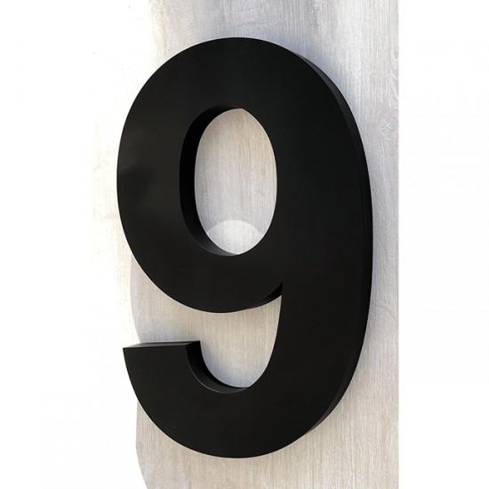 Huisnummer 9 RVS mat zwart...