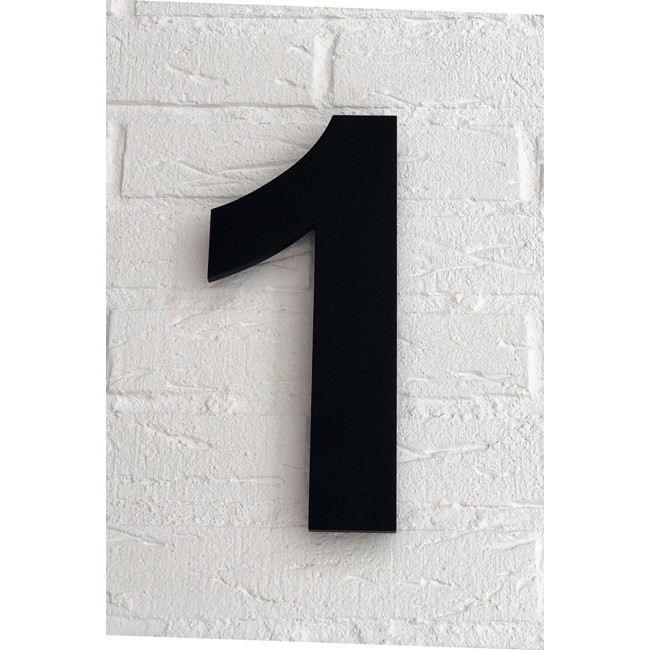 Huisnummer 1 Zwart Mat Acrylaat Groot