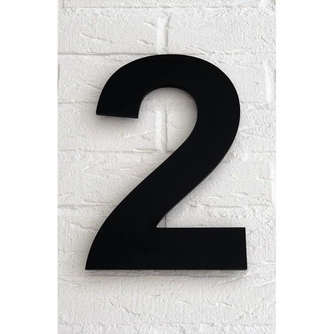 Huisnummer 2 Zwart Mat Acrylaat Groot