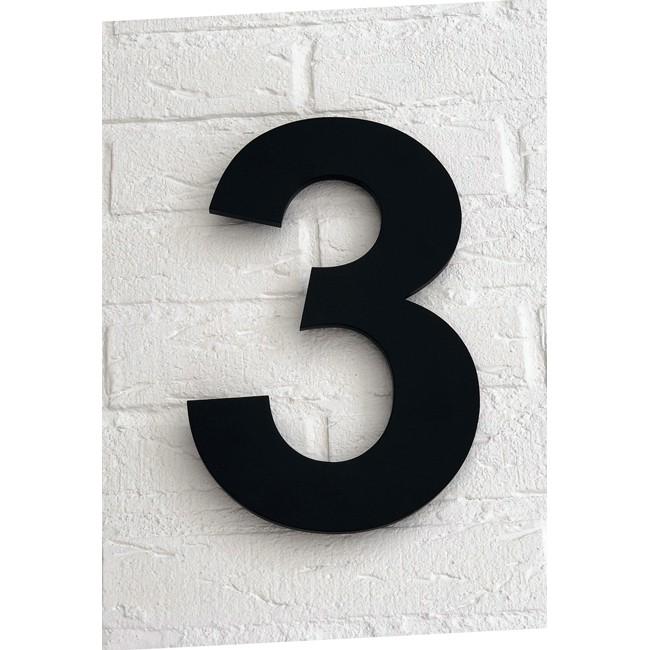 Huisnummer 3 Zwart Mat Acrylaat Groot