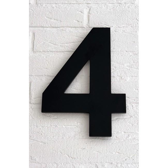 Huisnummer 4 Zwart Mat Acrylaat Groot