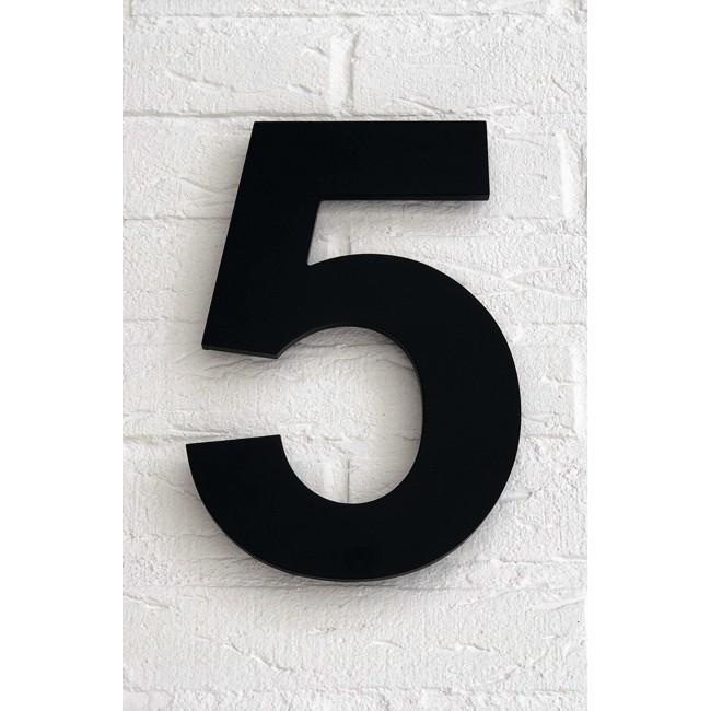 Huisnummer 5 Zwart Mat Acrylaat Groot