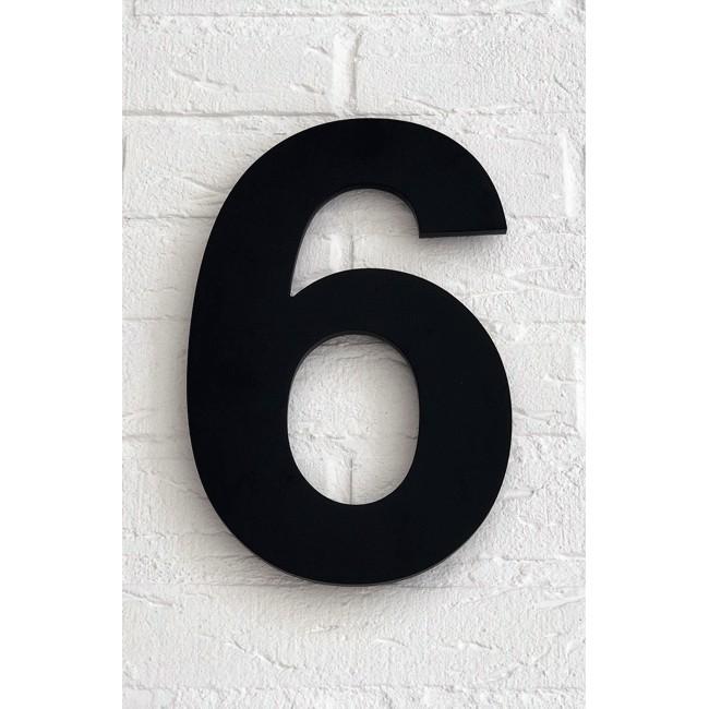 Huisnummer 6 Zwart Mat Acrylaat Groot