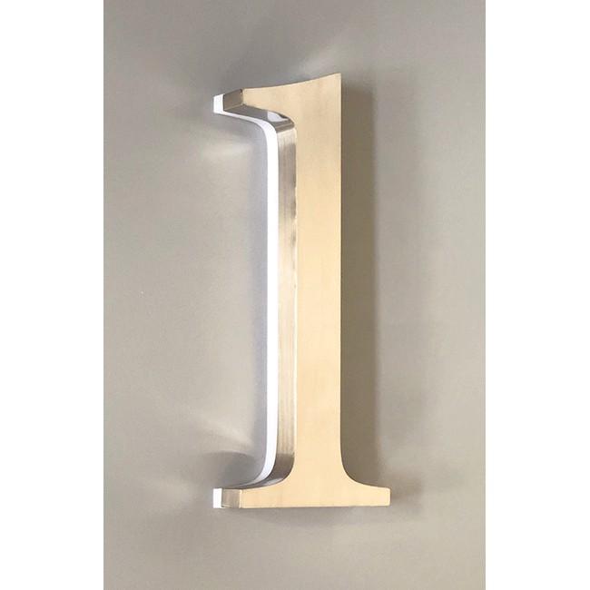 Huisnummer 1 RVS 30 cm LED verlicht