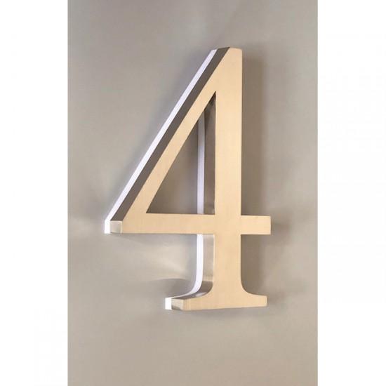 Huisnummer 4 RVS 30 cm LED...