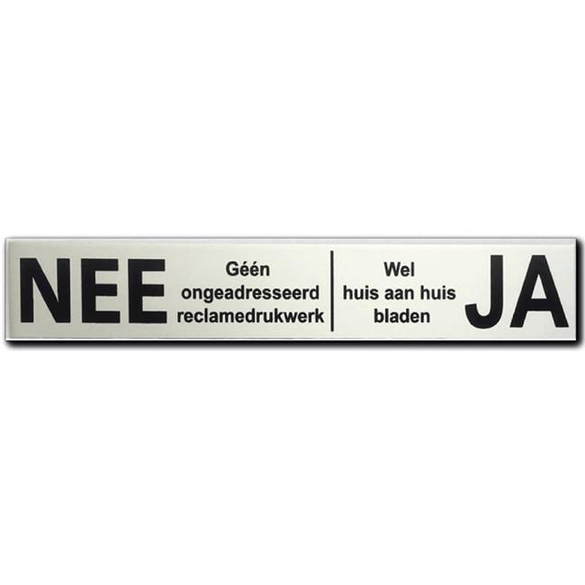 Nee Ja sticker brievenbus Aluminium...