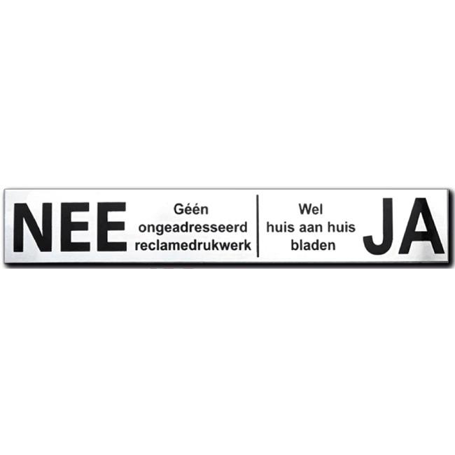 Nee Ja sticker brievenbus RVS zwart