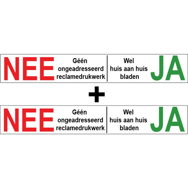 Nee Ja sticker transparant | 1 + 1...