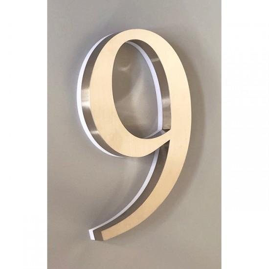 Huisnummer 9 RVS 30 cm LED...