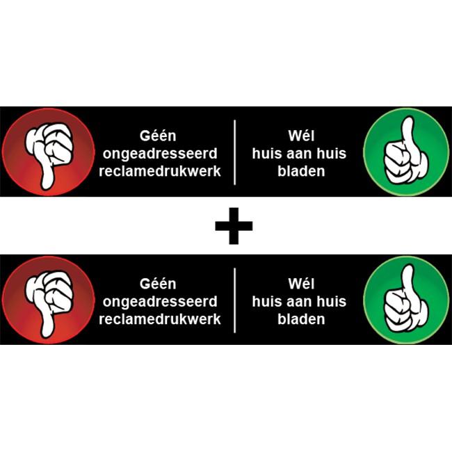 Nee Ja sticker brievenbus tumbs down...