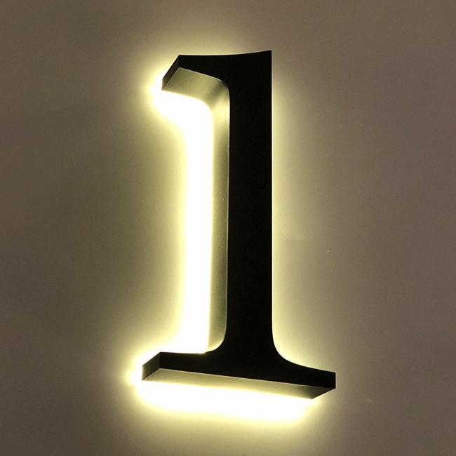 Huisnummer 1 Zwart RVS 20 cm LED...