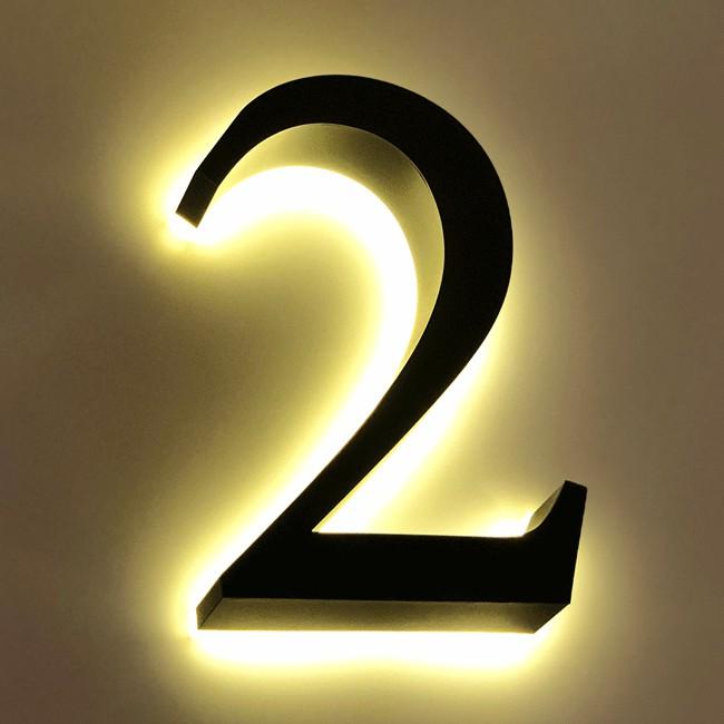 Huisnummer 2 Zwart RVS 20 cm LED...