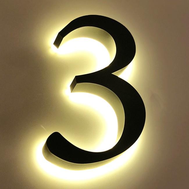 Huisnummer 3 Zwart RVS 20 cm LED...