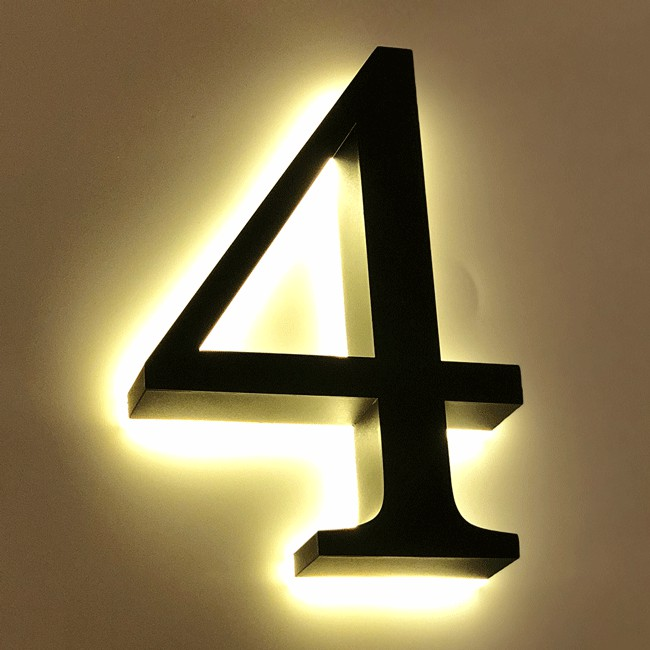 Huisnummer 4 Zwart RVS 20 cm LED...