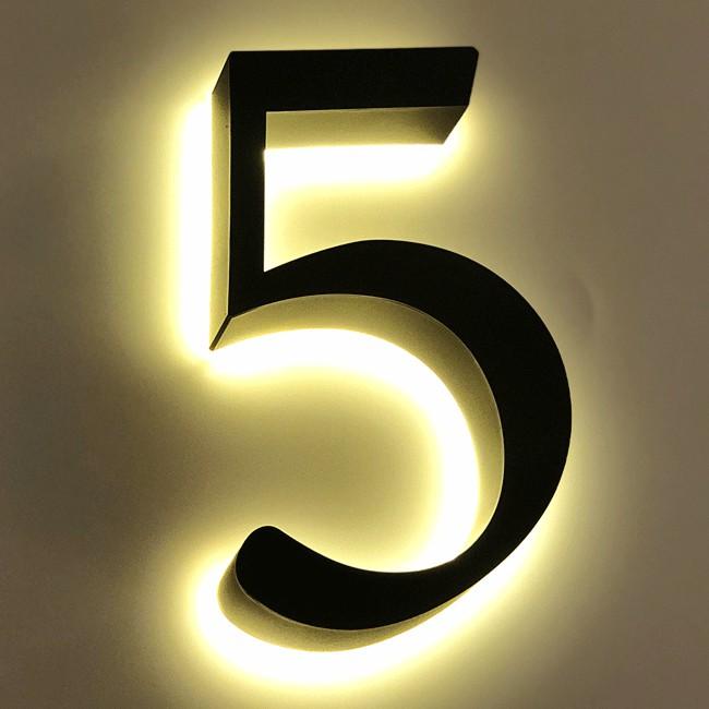 Huisnummer 5 Zwart RVS 20 cm LED...