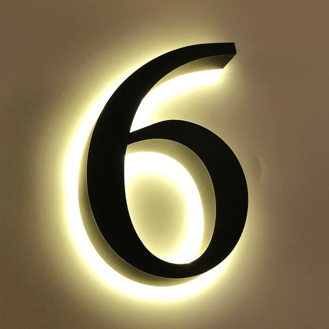 Huisnummer 6 Zwart RVS 20 cm LED...
