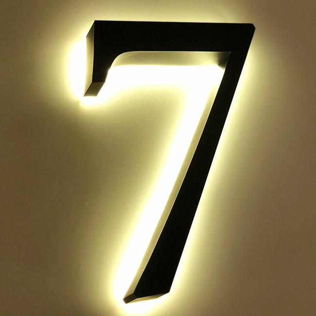 Huisnummer 7 Zwart RVS 20 cm LED...