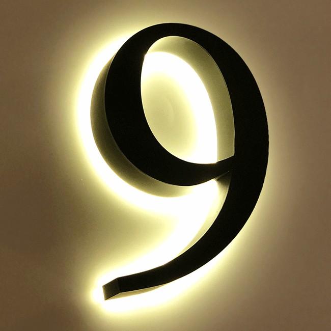 Huisnummer 9 Zwart RVS 20 cm LED...