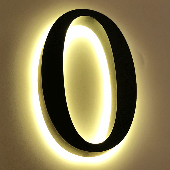 Huisnummer 0 Zwart RVS 20 cm LED...