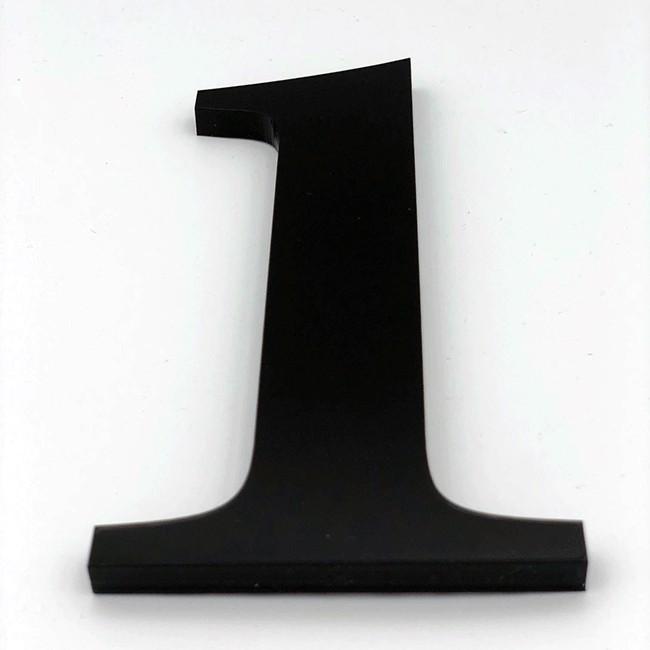 Huisnummer 1 Zwart Groot Glas Acrylaat