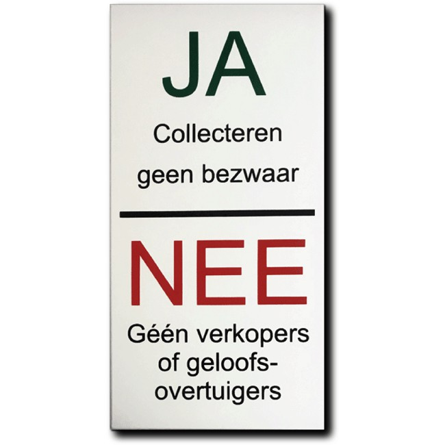 Ja Collecteren, Nee verkopers of...