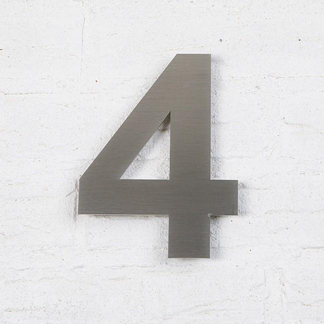 Huisnummer 4 RVS Geborsteld Arial