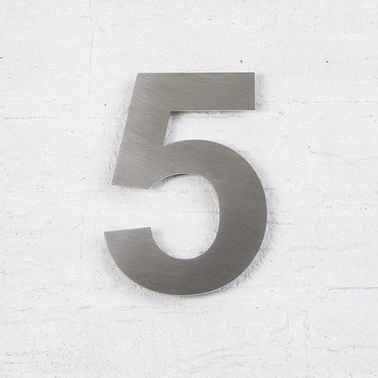 Huisnummer 5 RVS Geborsteld...