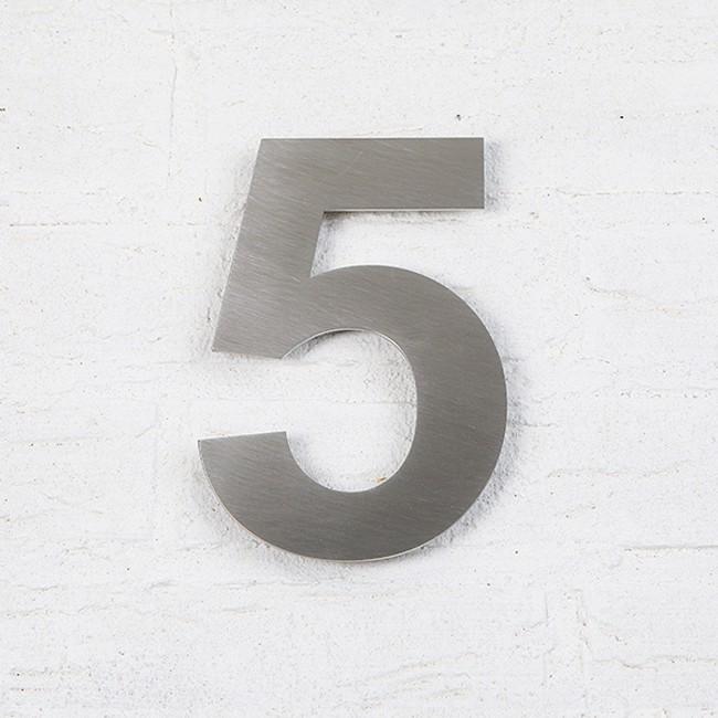 Huisnummer 5 RVS Geborsteld Arial
