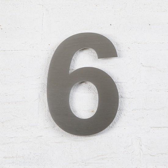 Huisnummer 6 RVS Geborsteld...