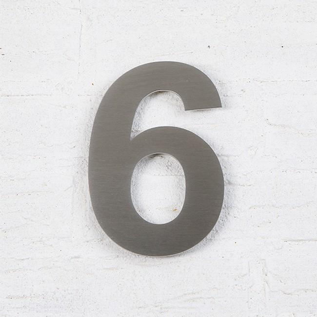 Huisnummer 6 RVS Geborsteld Arial