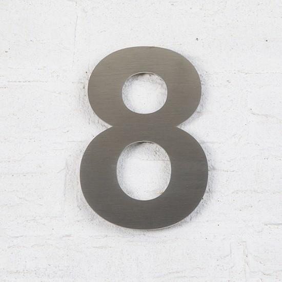 Huisnummer 8 RVS Geborsteld...