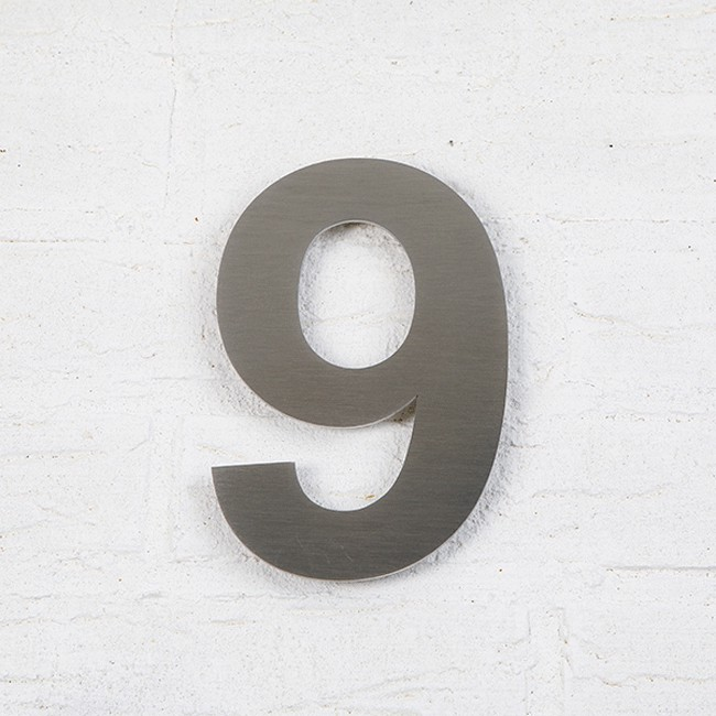 Huisnummer 9 RVS Geborsteld Arial