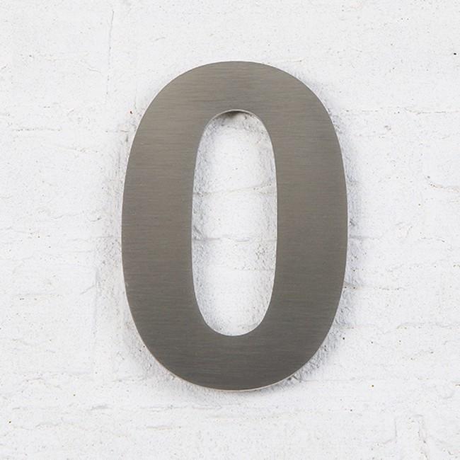 Huisnummer 0 RVS Geborsteld Arial