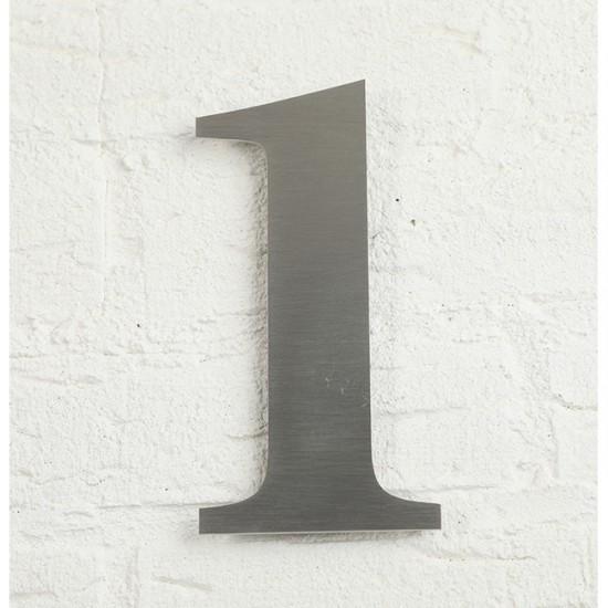 Huisnummer 1 RVS Geborsteld...