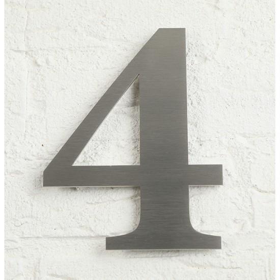 Huisnummer 4 RVS Geborsteld...