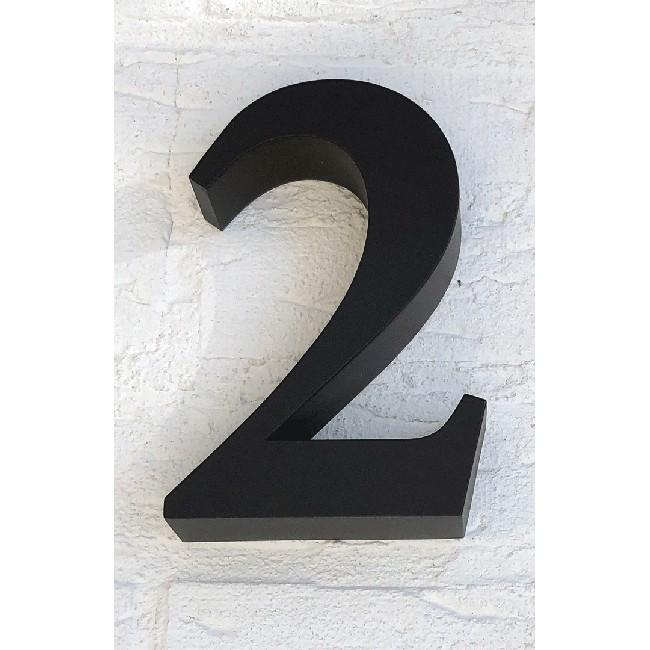 Huisnummer 2 RVS Zwart 3D Roma