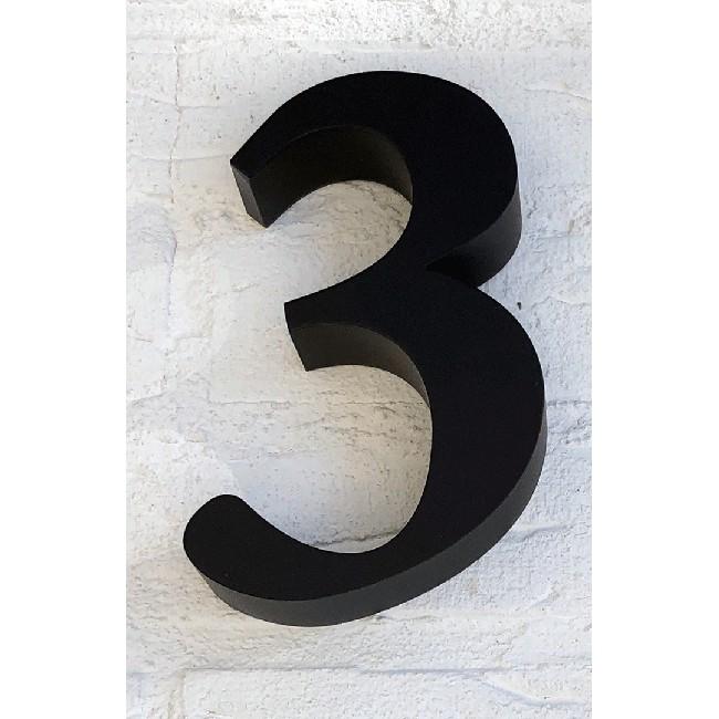Huisnummer 3 RVS Zwart 3D Roma