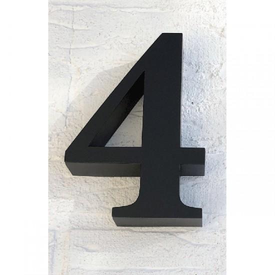 Huisnummer 4 RVS Zwart 3D Roma