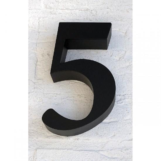 Huisnummer 5 RVS Zwart 3D Roma