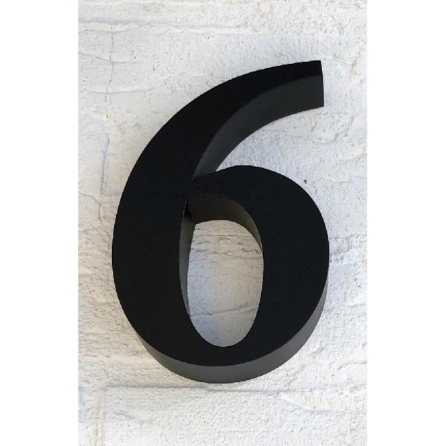 Huisnummer 6 RVS Zwart 3D Roma